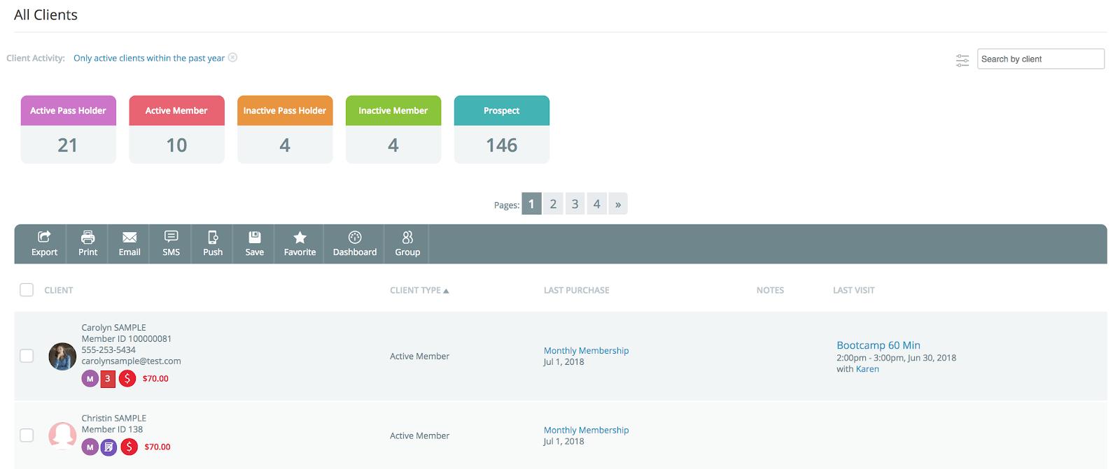 WellnessLiving Review Client List Dashboard