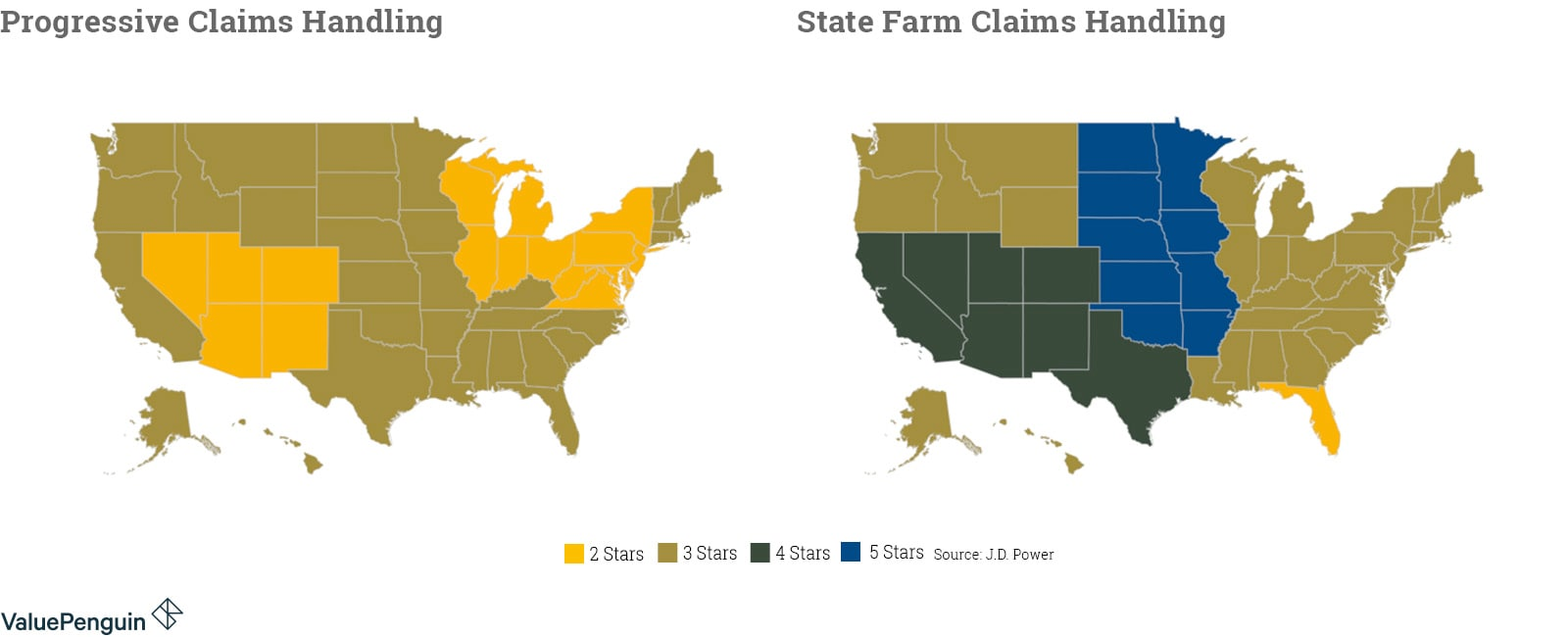 Maps comparing claims satisfaction for Progressive and State Farm