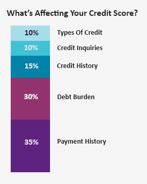 This image shows which major factors have an impact on your credit score