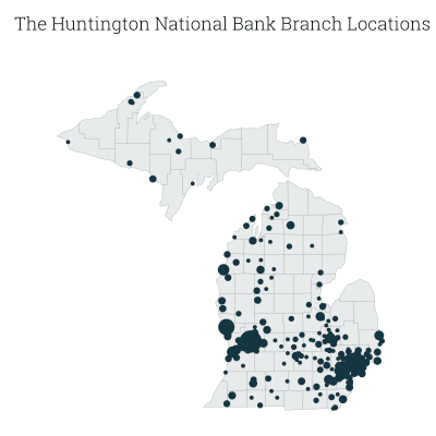 map of The Huntington National Bank branches in Michigan, by county