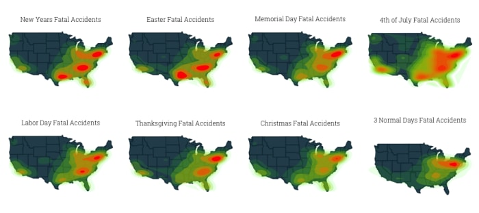 map shows the density of fatal accidents for different holidays in the US