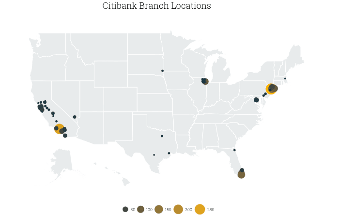 map of Citibank branches in the US, by county