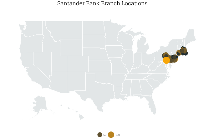 U.S. map of Santander Bank branches, by county