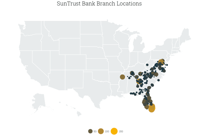 map of SunTrust branches in the US, by county