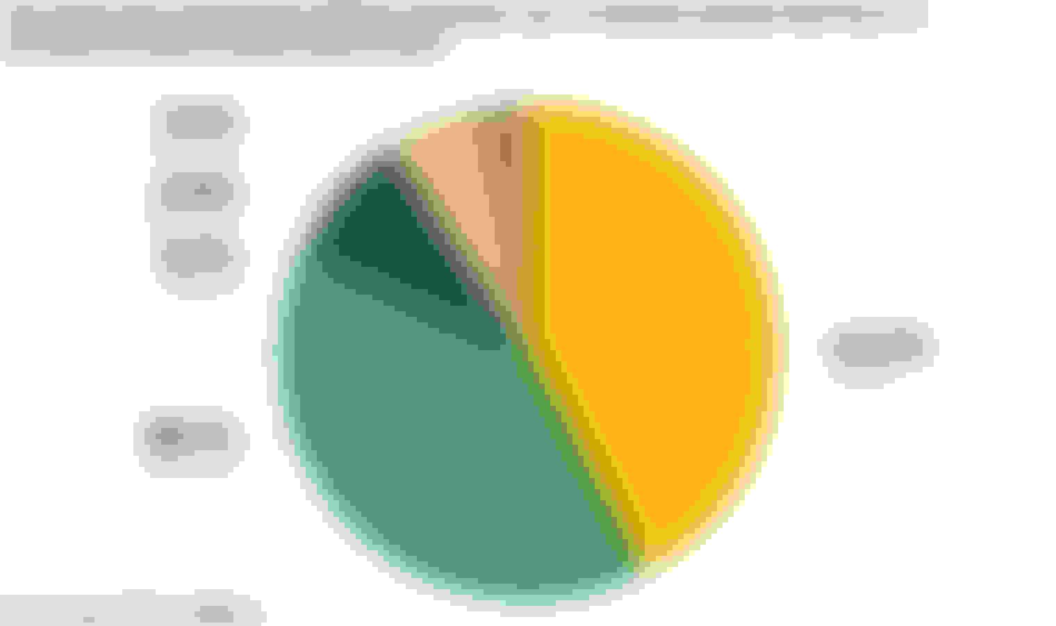 一个饼图显示了受访者将在关注气候变化引起的风险的保险单上花费多少
