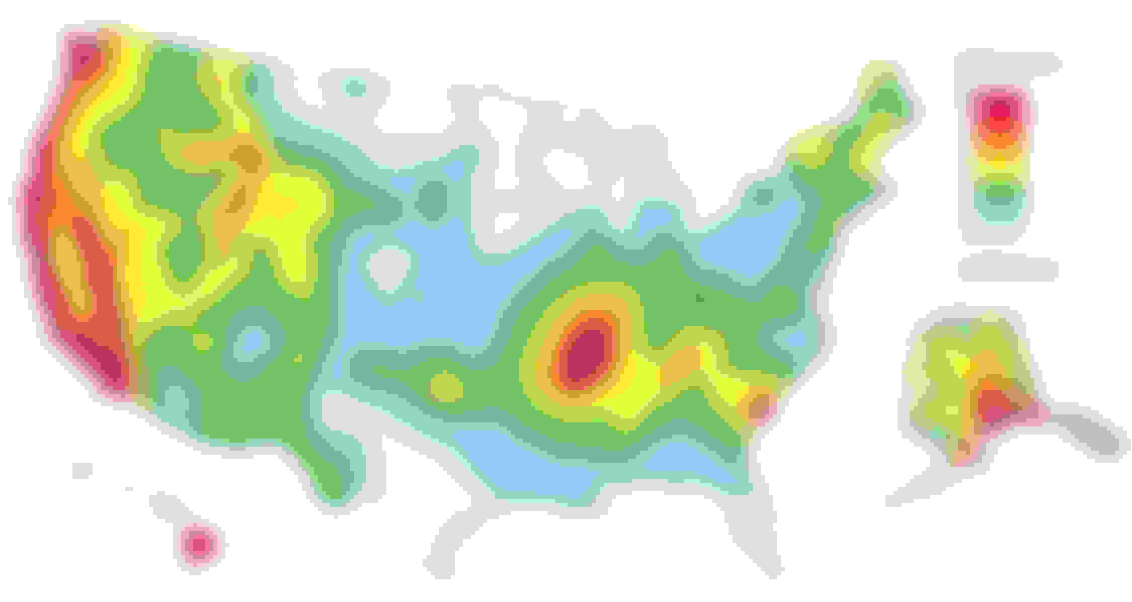 This map from the USGS shows which regions in the U.S. have the highest hazards for earthquakes