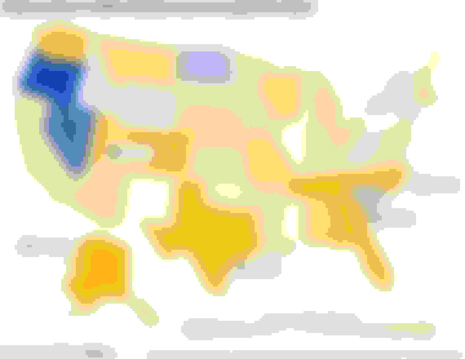 Heat map of the states with the biggest increase in traffic density