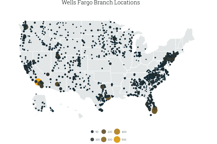 U.S. map of Wells Fargo branches, by county