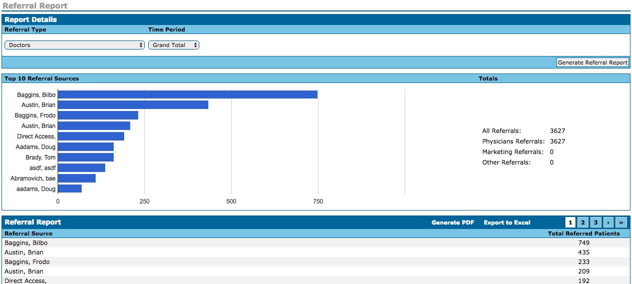 WebPT Referral Report