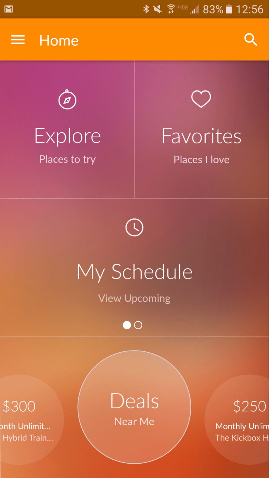 MINDBODY App Homescreen