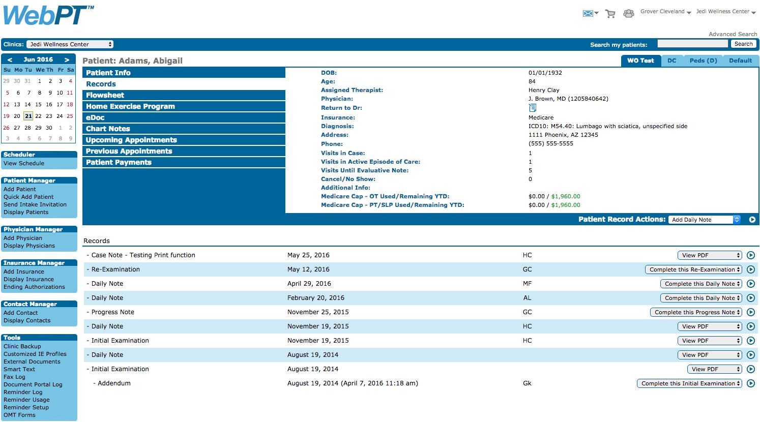 WebPT Patient Record
