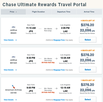A screenshot of the Chase Ultimate Rewards Travel Portal