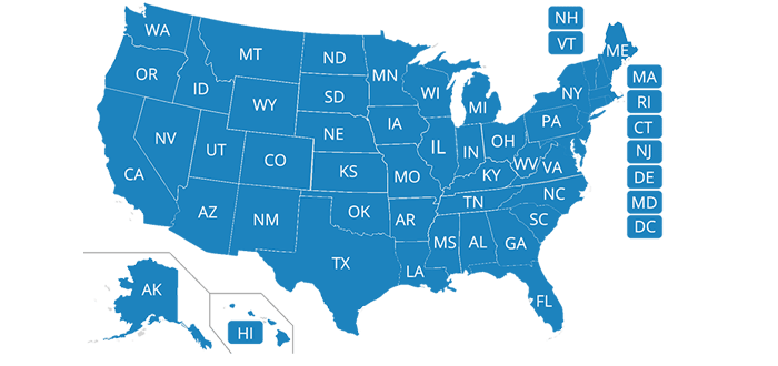 This map shows where Progressive underwrites auto insurance in the U.S.