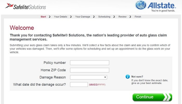 This is a screenshot of the Allstate – Safelite®Solutions Glass Claim Express page