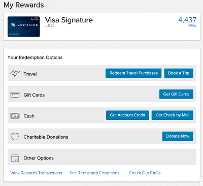 This image shows the five main categories of options Venture Rewards cardholders have to redeem their miles.