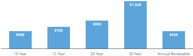 The average cost of life insurance by term: 10 year, 15 year, 20 year, 30 year, and Annual Renewable Term