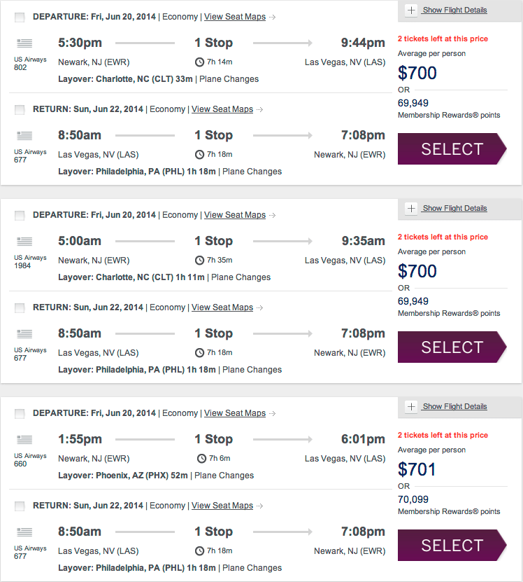American Express Sample Flight Itineraries