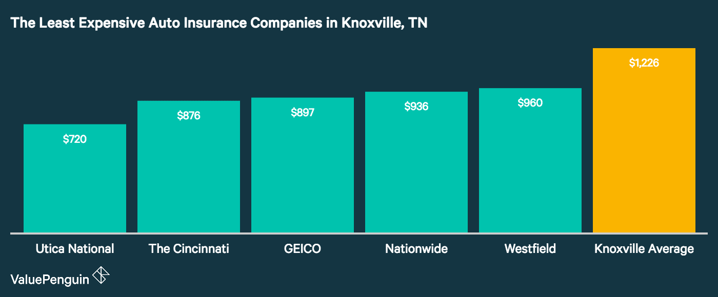 This graph displays the insurers in Knoxville with the lowest auto insurance premiums, and compares them visually against Knoxville's citywide average