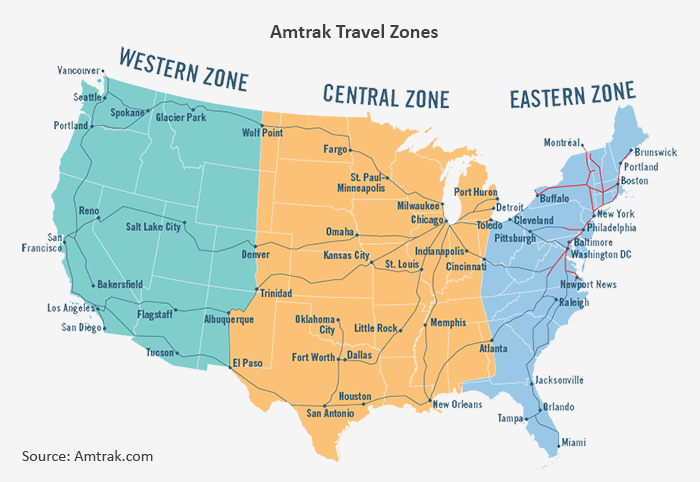 A map showing the cities Amtrak travels to, and which Zones they belong to.