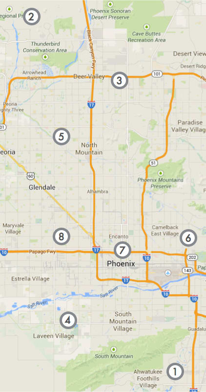 Ranking map of auto insurance prices in Phoenix