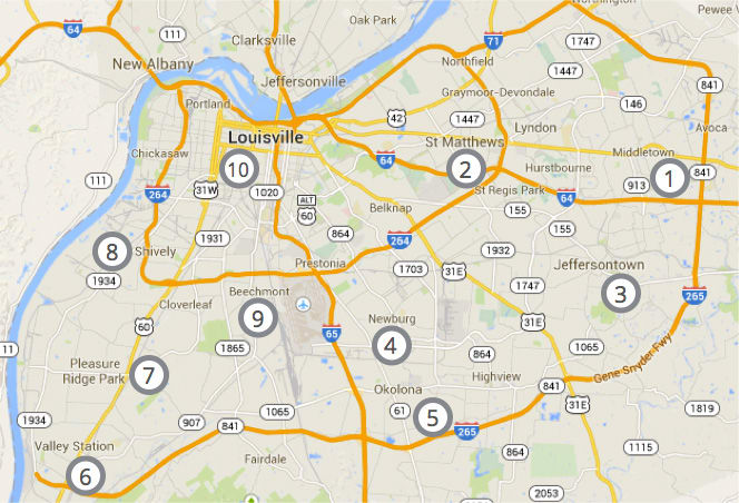 Ranking map of auto insurance prices in Louisville