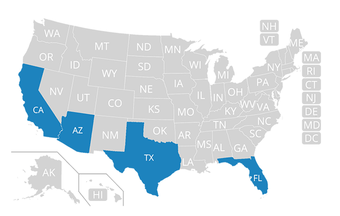 This map shows the states that Infinity directly underwrites auto insurance in.