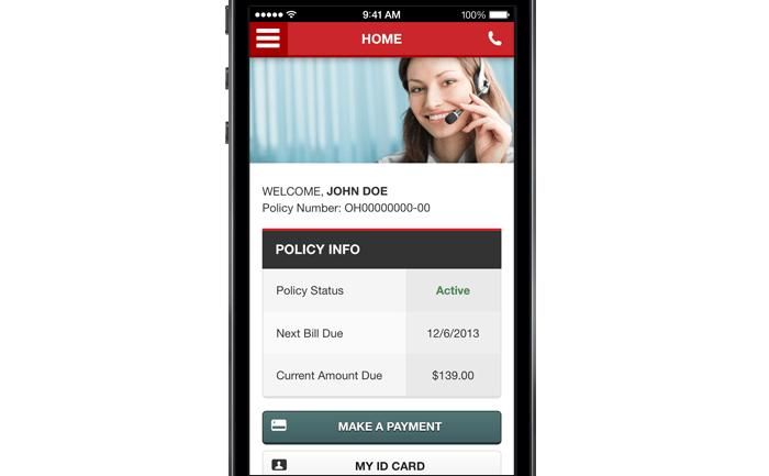 This screenshot shows consumers the user interface of the SafeAuto smartphone app