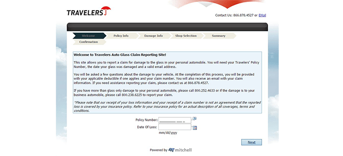 This screenshot shows the glass claim reporting section on Travelers website