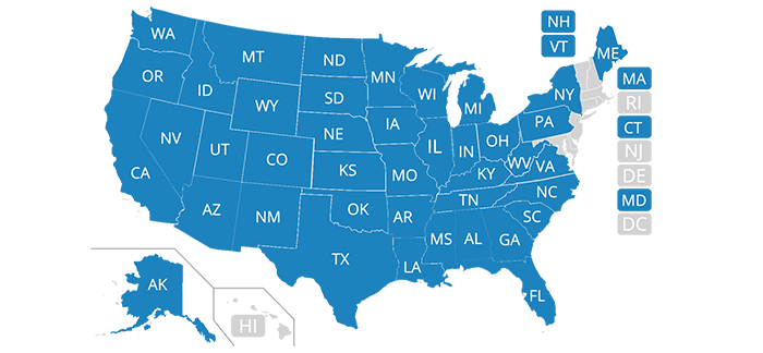 This map shows where Safeco directly underwrites auto insurance