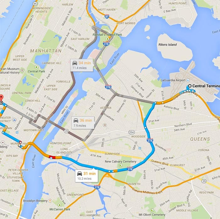 A map of three routes from Midtown Manhattan to La Guardia Airport with distance and time.