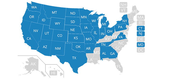 This map shows which states Farmers directly underwrites auto insurance in