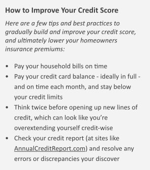 Here we outline the four major steps that homeowners can take to improve their credit-based insurance scores
