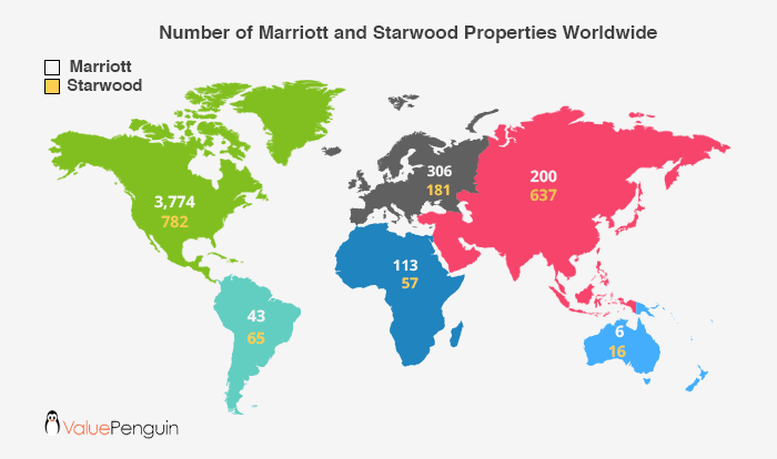 A map showing the number of Starwood and Marriott properties throughout the world