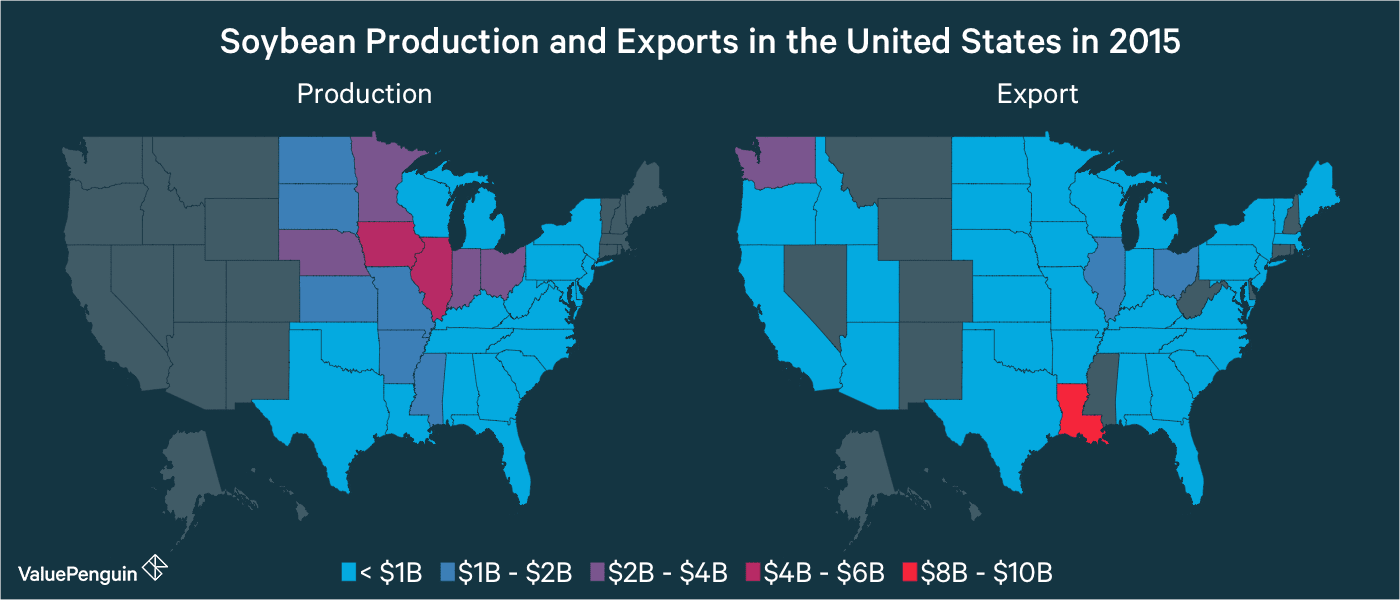 Soybean Production and Exports in the United States in 2015 (by state)