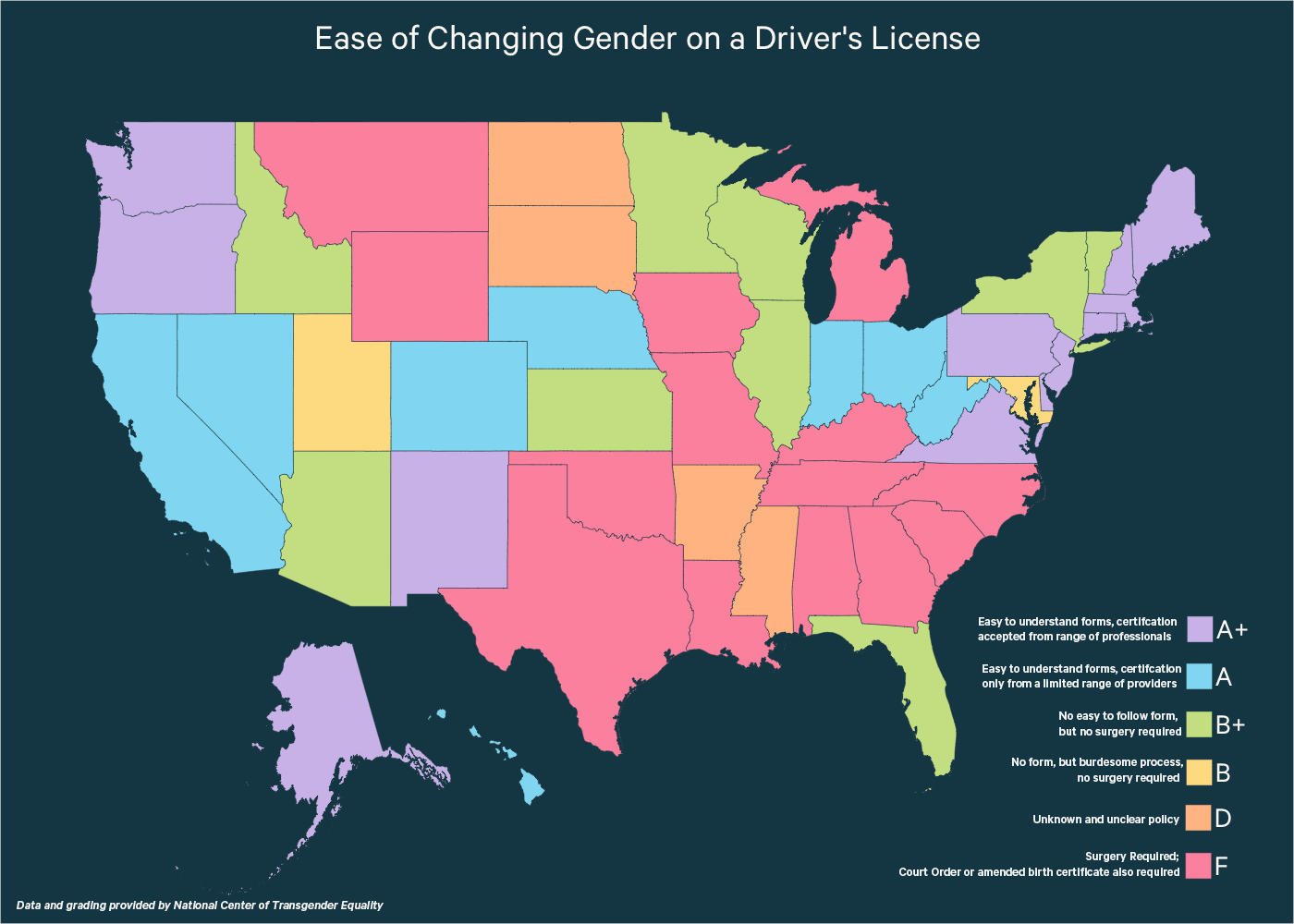 A map showing in which states is it hard and easy to change gender on a driver's license