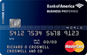 Best bank of america small businesses credit cards 2017 valuepenguin business preferred world mastercard reheart Images