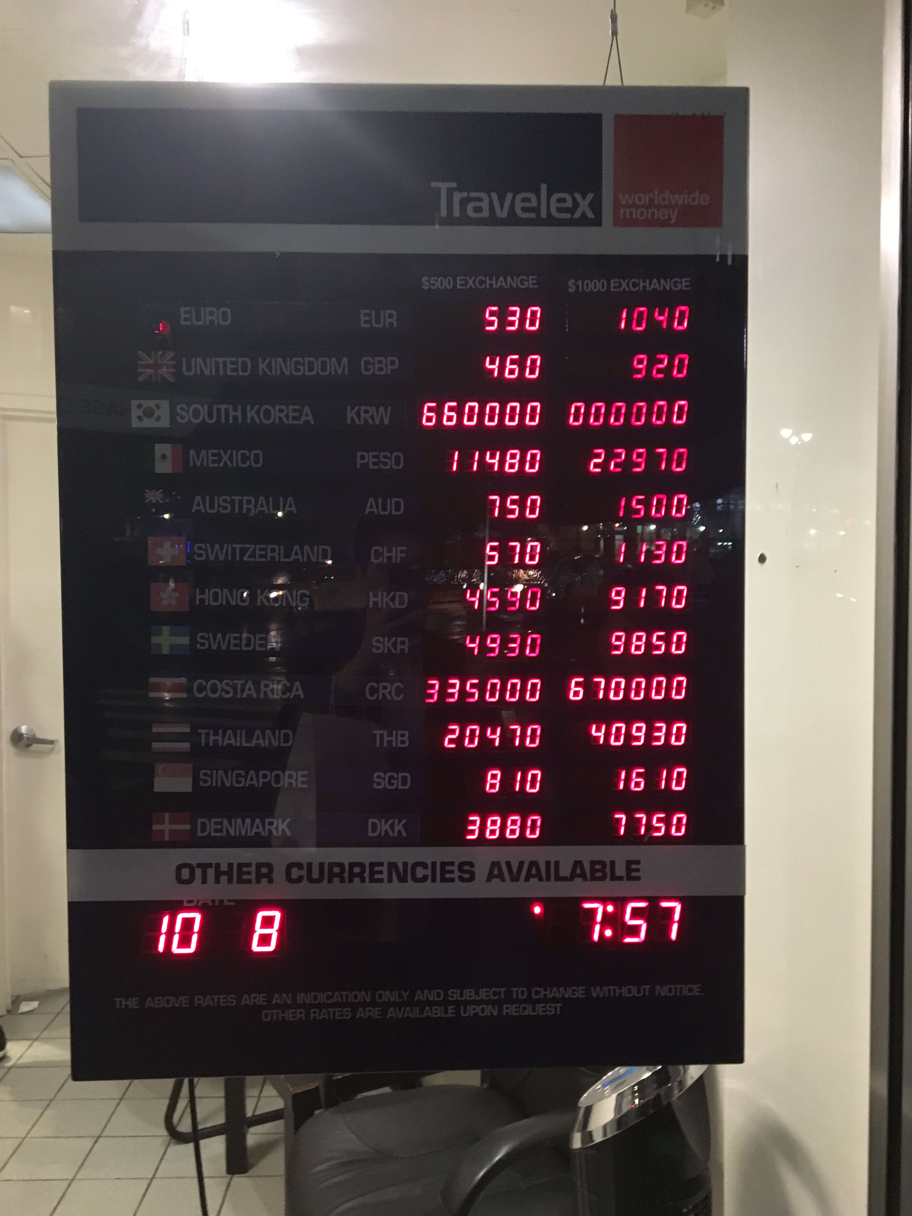 Exchange Rates at Travelex in Manhattan 20161010