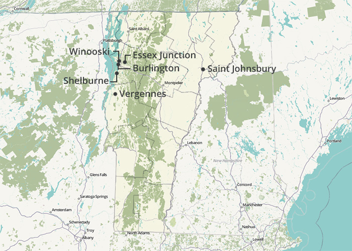 This image maps where in Vermont we found the lowest homeowners insurance rates for our sample property