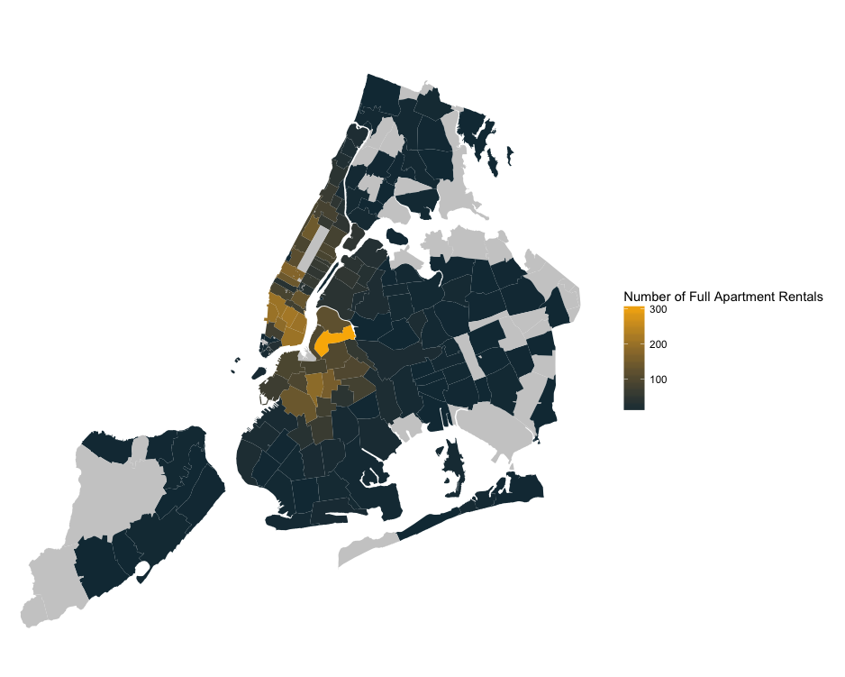 Map showing which NYC neighborhoods will be most affected by the new Airbnb law