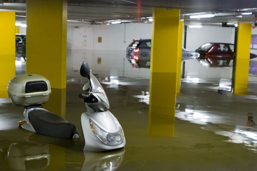 a car in flooded area of singapore