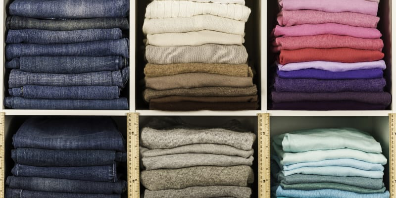 Compartmentalize your wardrobe by category of clothing or color.