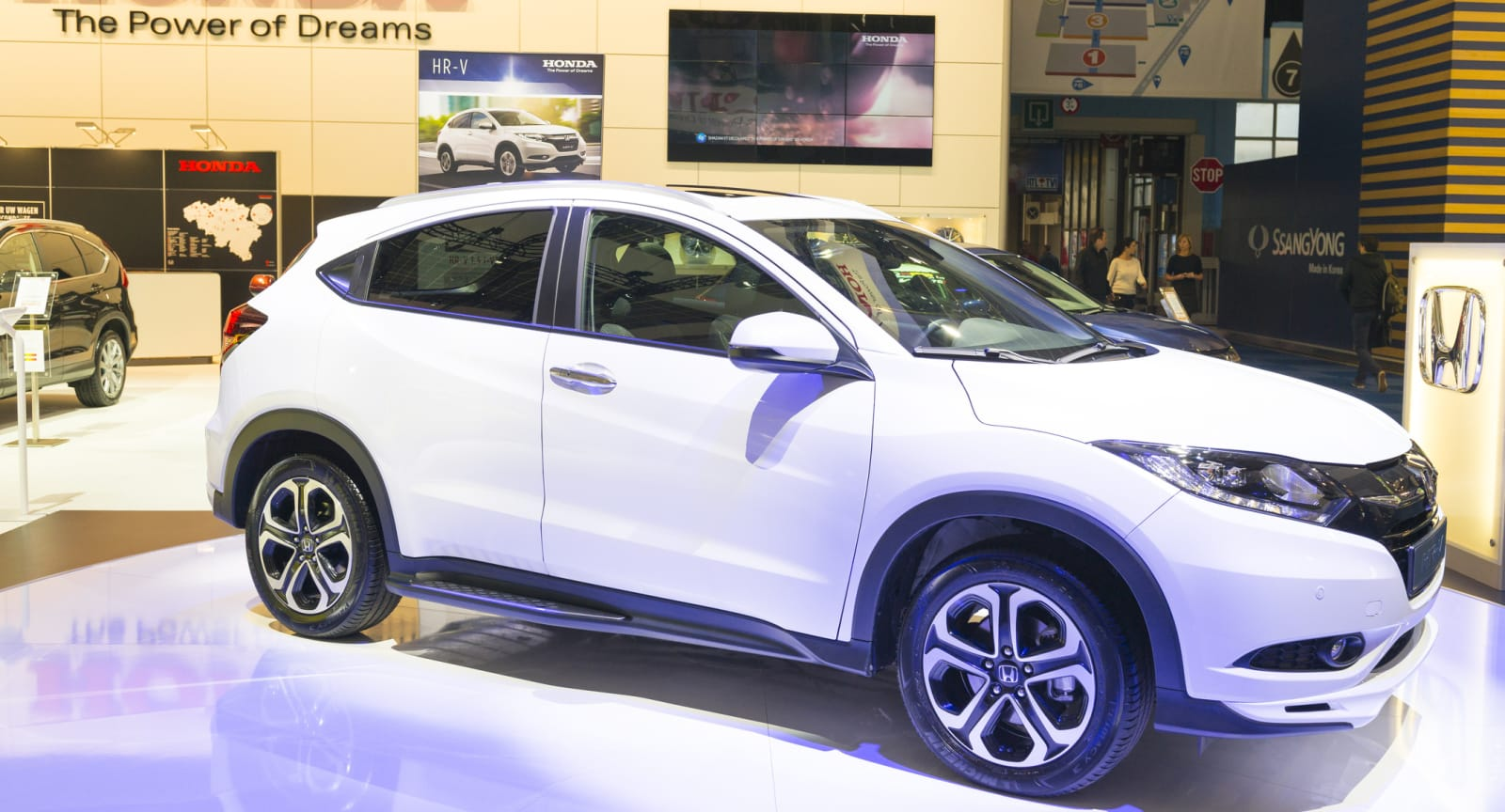 This photo shows a Honda HR-V in a showroom.