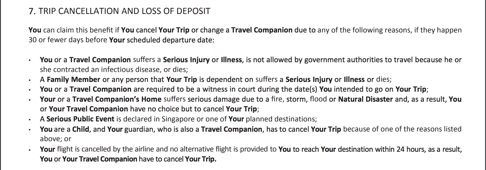 FWD's policy wording shows that it covers cancellations in the event of unforeseen civil unrest at your destination country