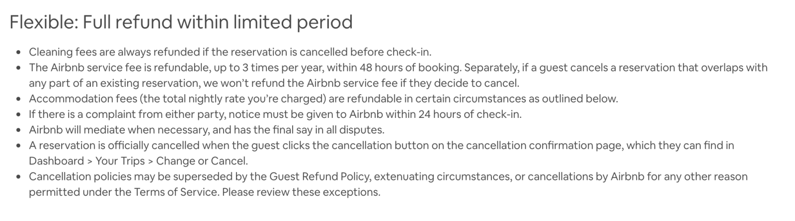 This is a screenshot outlining Airbnb's cancellation policy