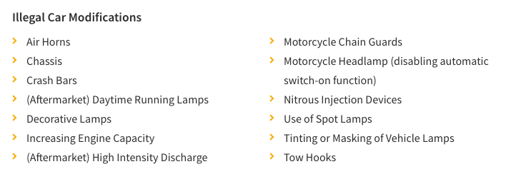 This image shows car modifications that are not allowed by the LTA