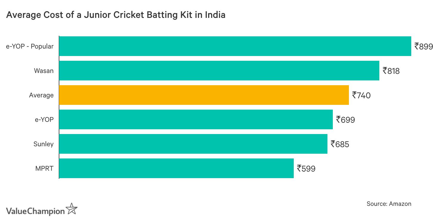 Graph showing Average Cost of a Junior Cricket Batting Kit in India