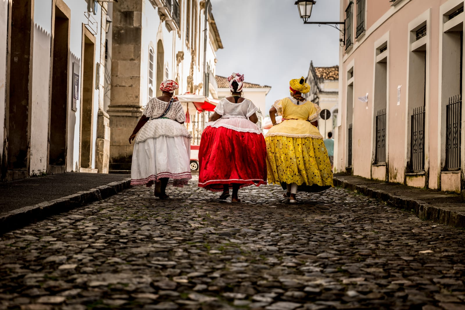View of women in traditional outfits in Salvador, Bahia in Brazil
