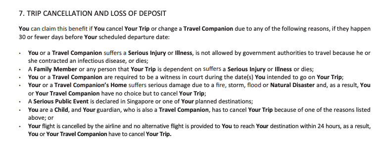 This is a screenshot of FWD's travel insurance policy document describing under what circumstances a cancellation claim is valid