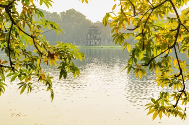 Changing leaves in Hoan Kiem Lake in Hanoi, Vietnam