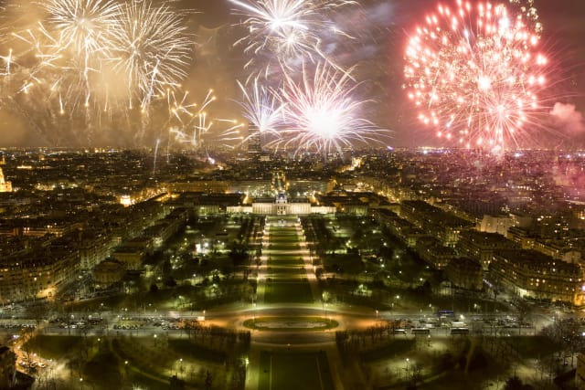 This image shows New Year's celebrations in Paris, France